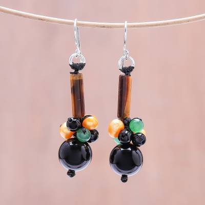 Multi-gemstone beaded dangle earrings, 'Scenic Beauty' - Multi-Gemstone Beaded Dangle Earrings from Thailand