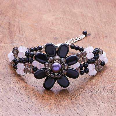 Quartz and cultured pearl beaded bracelet, 'Floral Solitaire' - Floral Quartz and Cultured Pearl Beaded Bracelet