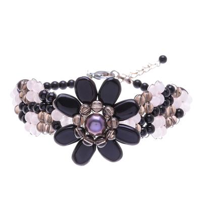 Floral Quartz and Cultured Pearl Beaded Bracelet