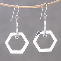 Sterling silver dangle earrings Shining Hexagons (Thailand)