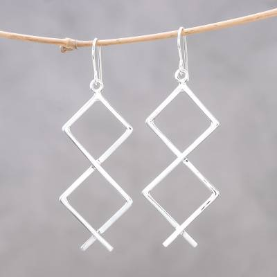 Sterling silver dangle earrings, Geometric Zigzag