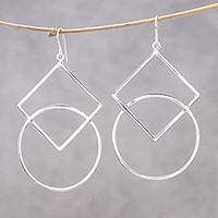 Sterling silver dangle earrings, 'Geometric Elegance' - Square and Circular Sterling Silver Dangle Earrings