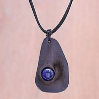 Lapis lazuli and leather pendant necklace, 'Stylish Avocado' - Lapis Lazuli and Leather Pendant Necklace from Thailand