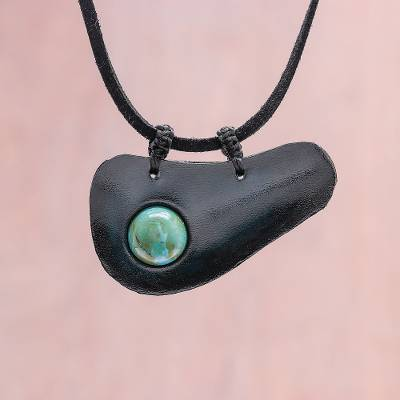 Howlite and leather pendant necklace, 'Beautiful Avocado' - Handmade Howlite and Leather Pendant Necklace from Thailand