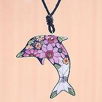 Ceramic pendant necklace, 'Spring Dolphin' - Ceramic Dolphin Necklace with Painted Floral Motifs