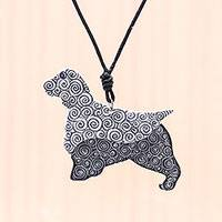 Ceramic pendant necklace, 'Spiral Dog' - Ceramic Dog Pendant Necklace with Painted Spiral Motifs