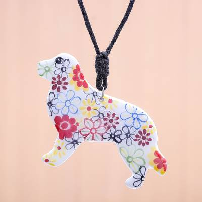 Ceramic pendant necklace, 'Floral Dog' - Ceramic Dog Pendant Necklace with Painted Floral Motifs