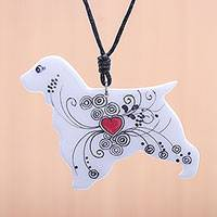Ceramic pendant necklace, 'Heart Dog' - Ceramic Dog Pendant Necklace with a Painted Heart Motif