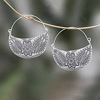 Silver hoop earrings, 'Karen Crescent' - Floral Karen Silver Hoop Earrings from Thailand