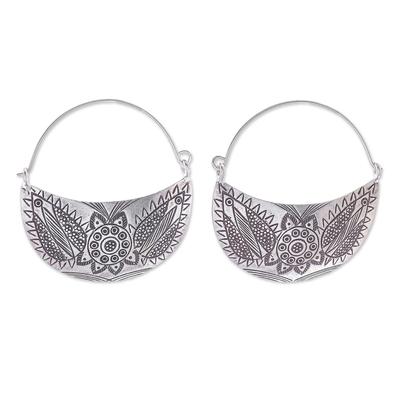 Floral Karen Silver Hoop Earrings from Thailand