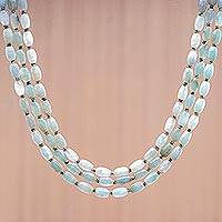 Jade beaded strand necklace, 'Graceful Palace' - Jade and Hematite Beaded Strand Necklace from Thailand
