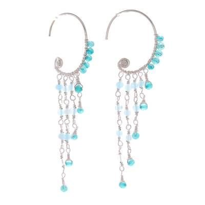 Blue Quartz Crescent Waterfall Earrings from Thailand
