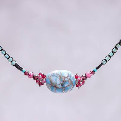 Multi-gemstone beaded pendant necklace, 'Cosmic Combination' - Multi-Gemstone Beaded Pendant Necklace from Thailand