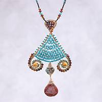 Multi-gemstone beaded pendant necklace, 'Bohemian Fascination' - Bohemian Multi-Gemstone Beaded Pendant Necklace