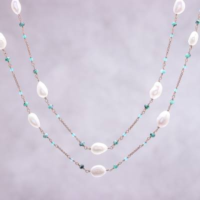 Multi-gemstone long station necklace, Delightful Love