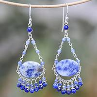 Lapis lazuli beaded chandelier earrings, 'Lovely Rain' - Lapis Lazuli Beaded Chandelier Earrings from Thailand