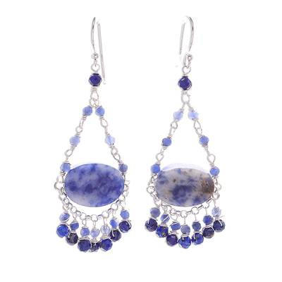 Lapis Lazuli Beaded Waterfall Earrings from Thailand