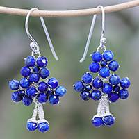 Lapis lazuli beaded dangle earrings, 'Beaded Forest' - Lapis Lazuli Beaded Dangle Earrings form Thailand