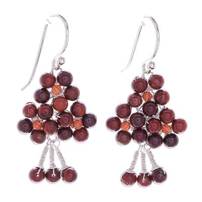 Jasper and Carnelian Beaded Dangle Earrings from Thailand
