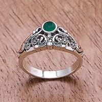 Onyx band ring, 'Lacy Elegance' - Green Onyx Band Ring Crafted in Thailand