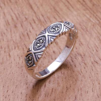 Sterling silver band ring, Glimmering Eyes