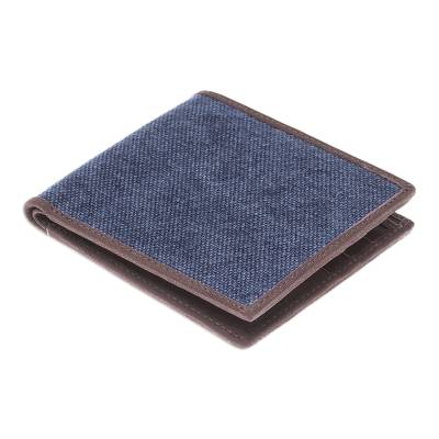 Cotton and Leather Wallet in Blue from Thailand