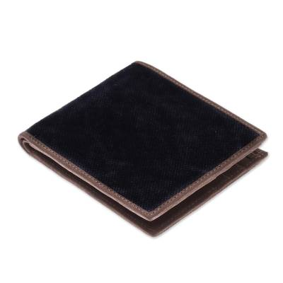Cotton and Leather Wallet in Black from Thailand