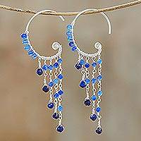 Lapis lazuli and quartz beaded waterfall earrings, 'Crescent Waterfall' - Lapis Lazuli and Quartz Waterfall Earrings from Thailand