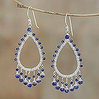 Lapis lazuli and quartz beaded chandelier earrings, 'Beautiful Dew' - Lapis Lazuli and Quartz Chandelier Earrings from Thailand