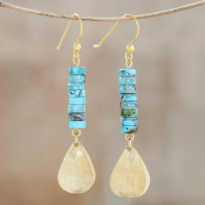 Brass and reconstituted turquoise dangle earrings, 'Sea Gold' - Brass and Reconstituted Turquoise Dangle Earrings