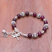 Quartz beaded bracelet, 'Velvet Dragonfly' - Purple Quartz Beaded Bracelet from Thailand