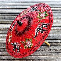 Paper parasol, 'Elephant Parade in Crimson' - Elephant Motif Paper Parasol in Crimson from Thailand