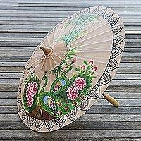 Paper parasol, 'Peacock Garden' - Peacock-Themed Paper Parasol from Thailand