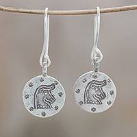 Silver dangle earrings, 'Karen Taurus' - Karen Silver Taurus Dangle Earrings from Thailand