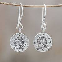 Silver dangle earrings, 'Karen Leo' - Karen Silver Leo Dangle Earrings from Thailand