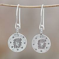 Silver dangle earrings, 'Karen Virgo' - Karen Silver Virgo Dangle Earrings from Thailand