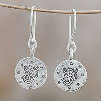 Silver dangle earrings, 'Karen Scorpio' - Karen Silver Scorpio Dangle Earrings from Thailand