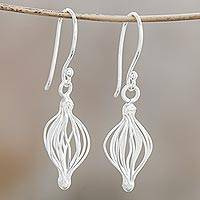 Sterling silver dangle earrings, 'Beautiful Cage' - Sterling Silver Wire Dangle Earrings from Thailand