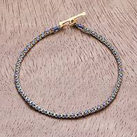 Gold plated brass chain bracelet, 'Golden Day in Blue' - Gold Plated Brass Chain Bracelet in Blue from Thailand
