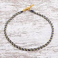 Gold plated brass chain bracelet, 'Golden Day in Dark Blue' - Gold Plated Brass Chain Bracelet in Dark Blue from Thailand