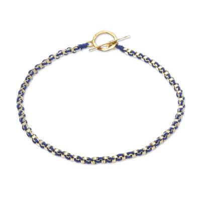 Gold Plated Brass Chain Bracelet in Dark Blue from Thailand