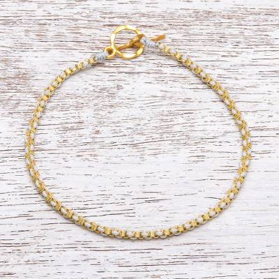 Gold plated brass chain bracelet, 'Golden Day in Grey' - Gold Plated Brass Chain Bracelet in Grey from Thailand