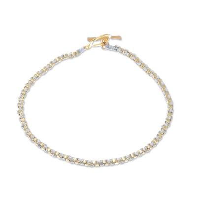 Gold Plated Brass Chain Bracelet in Grey from Thailand