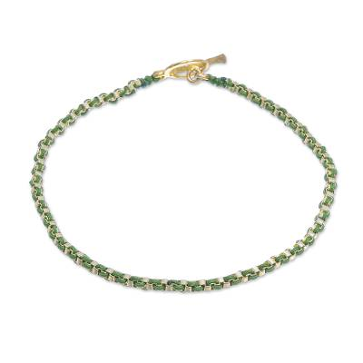 Gold Plated Brass Chain Bracelet in Green from Thailand