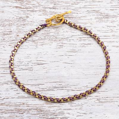 Gold plated brass chain bracelet, 'Golden Day in Purple' - Gold Plated Brass Chain Bracelet in Purple from Thailand