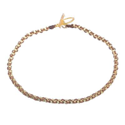 Gold Plated Brass Chain Bracelet in Brown from Thailand