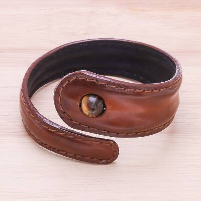 Tiger's eye and leather wrap bracelet, 'Smart and Stylish' - Tiger's Eye and Leather Wrap Bracelet from Thailand