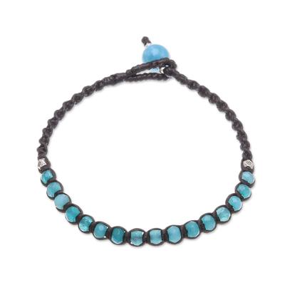 Aquamarine Beaded Macrame Bracelet from Thailand
