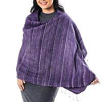 Silk and cotton blend shawl, 'Gorgeous Stripes in Purple' - Striped Silk and Cotton Blend Shawl in Purple from Thailand