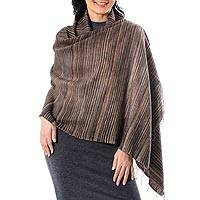 Silk and cotton blend shawl, 'Gorgeous Stripes in Brown' - Striped Silk and Cotton Blend Shawl in Brown from Thailand